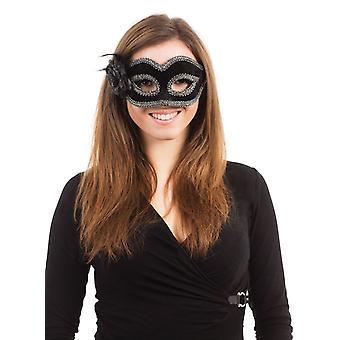 Maschera nera fiore/piuma, su montatura di occhiali