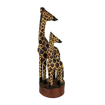 Hand Crafted Wood Standing Giraffe Family Statue