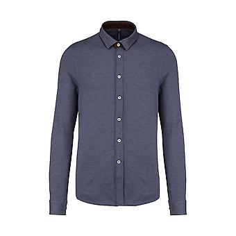 Kariban Mens Long-Sleeved Jacquard Knit Shirt