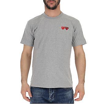 Comme Des Garçons Play P1t2263 Men's Grey Cotton T-shirt