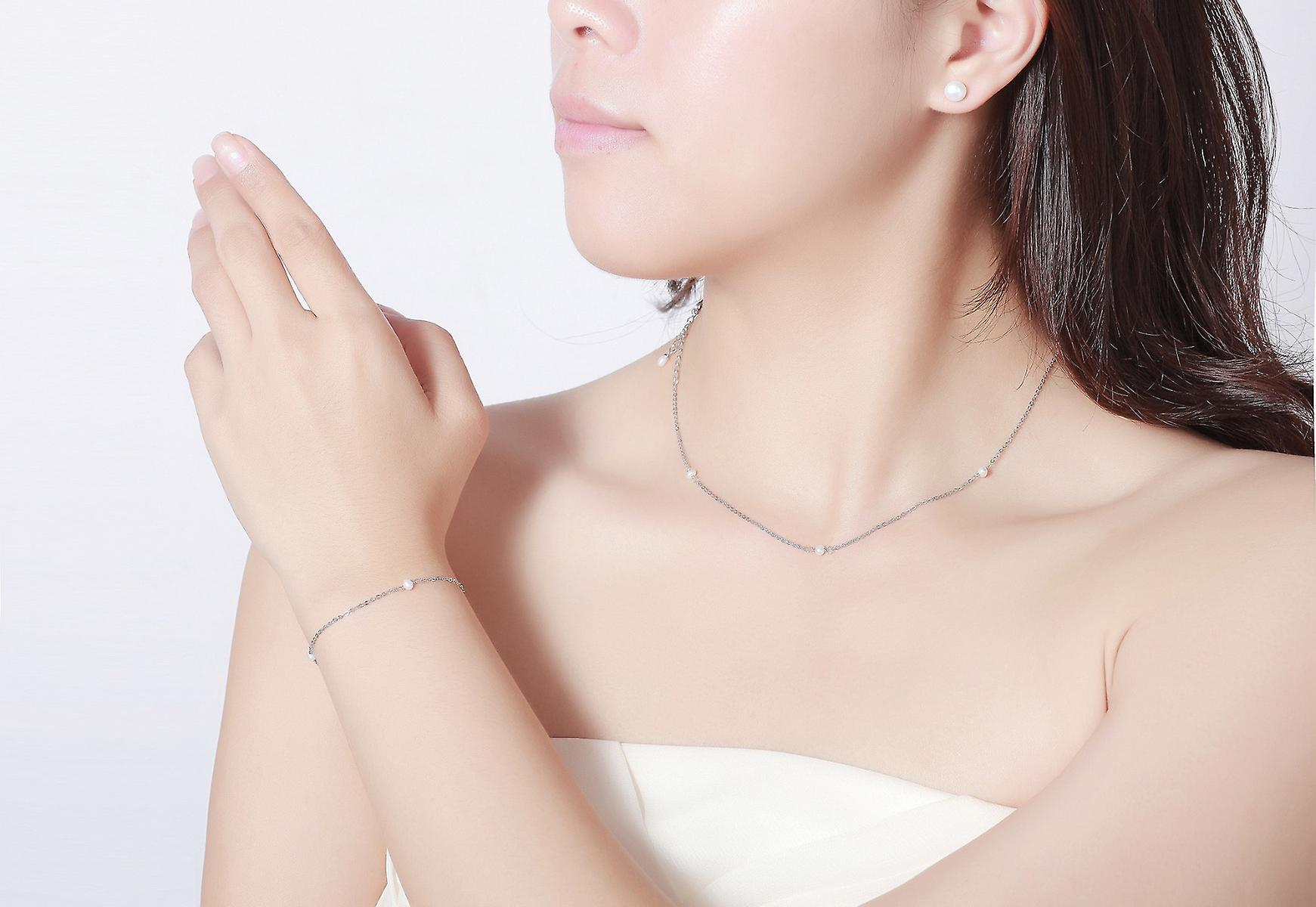 925 Sterling Silver 3pcs Floating Pearl Jewellery Set