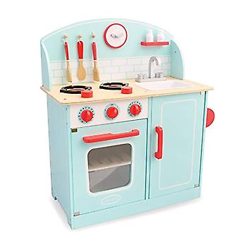 Indigo jamm Lynton puinen lelu keittiö, teeskennellä pelata liesi yksikkö pesu allas ja ruoan laitto tarvikkeet