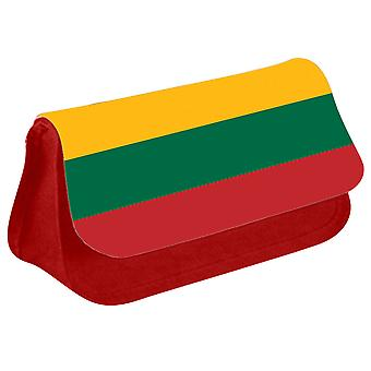 Lithuania Flag Printed Design Pencil Case for Stationary/Cosmetic - 0100 (Red) by i-Tronixs