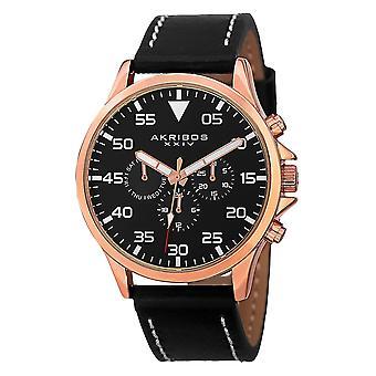 Akribos XXIV AK773RGB Swiss multifonction Day Date bracelet montre en cuir