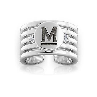 University Of Maryland Engraved Sterling Silver Diamond Multiband Cuff Ring