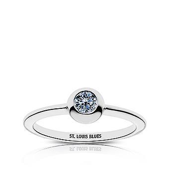 St. Louis Blues Sapphire Ring In Sterling Silver Design by BIXLER