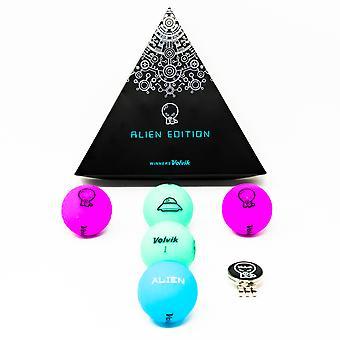Volvik Vivid Alien Edition Pack 5 x golfballen en Magnetische Alien Cap Ball Marker