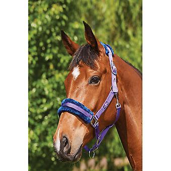 Saxon element fleece Pony/häst Headcollar-lila/Marinblå