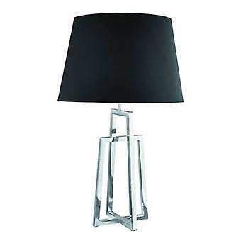 1 ljus bords lampa krom med svart tyg skugga