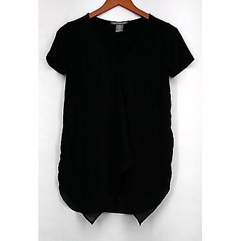 Kate & Mallory Top Mixed Media Short Sleeved w/ Front Ruffle Black A426071