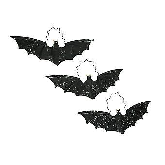 Distressed Black Metal Hanging Vampire Bat Halloween Decor Set of 3