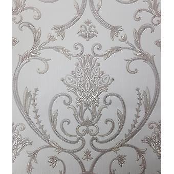 Debona Isabella Damask Ivory Gold Silver Wallpaper Floral Glitter Italian Vinyl
