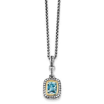 925 sterling silver bezel polerad antik finish hummer klo stängning med 14K blå Topaz halsband