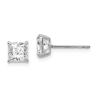 14k White Gold Polished 5mm Square CZ Cubic Zirconia Simulated Diamond Post Earrings Measures 5x5mm Jewelry Gifts for Wo
