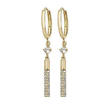 Eeuwigheid 9ct gouden hoepel oorbellen met Cubic Zirconia Bar druppels
