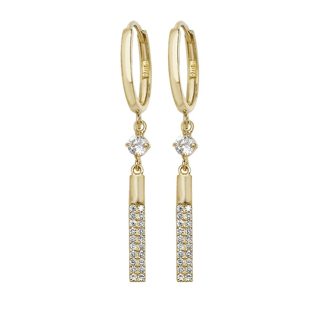 Eternity 9ct Gold Hoop Earrings With Cubic Zirconia Bar Drops