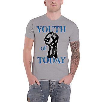 Youth Of Today T Shirt Stencil Band Logo new Official Mens Grey