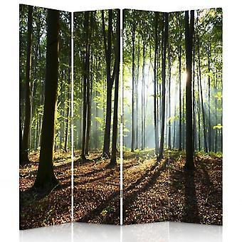 Rumsavdelare, 4 paneler, canvas, solens strålar i skogen