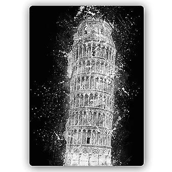 Metal a cópia, torre inclinada de Pisa na noite