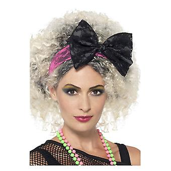 80-as évek csipke fejpánt, fekete & Pink Fancy ruha tartozék
