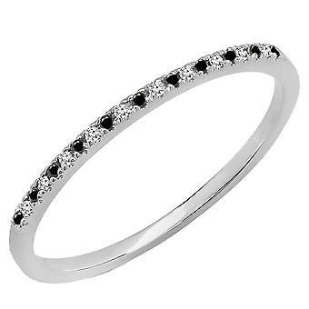 Dazzlingrock Collection 0.08 Carat (ctw) 10K Round Black and White Diamond Dainty Stackable Band, White Gold