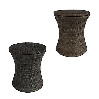 Charles Bentley Rattan Ice Bucket / Table - Adjustable Multi-Position - Fully Assembled Indoor / Outdoor in Natural / Grey