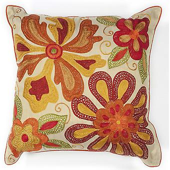 Square Beaded Red and Orange Floral Accent Pillow