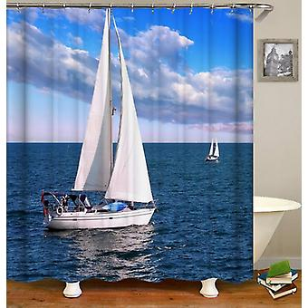 Sailboat At Open Sea Shower Curtain
