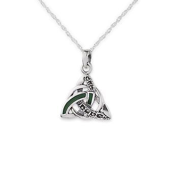 """Keltische Heilige Dreifaltigkeit Knoten Halskette Anhänger - Marcasite Steine & grün Emaille - enthält eine 18"""" Silber Kette"""