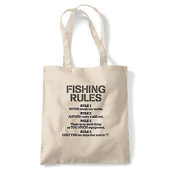 Fiske regler Funny tote | Ørret abbor bream Cat fisk Roach Zander Stam | Gjenbrukbare shopping Cotton Canvas Long håndtert Natural shopper miljøvennlig mote