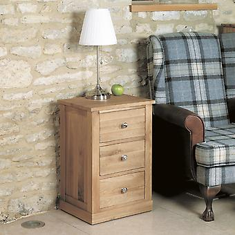 Mobel Oak Three Drawer Lamp Table Brown - Baumhaus