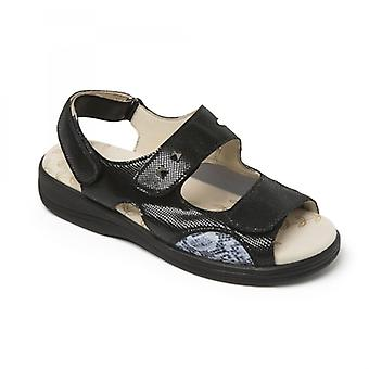 Padders Gemstone Ladies Leather Extra Wide (3e/4e) Sandals Black Reptile