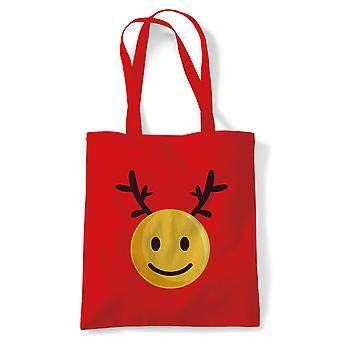 Smiley Weihnachten Emoji Reindeer Tote | Geheime Santa Strumpf Füllstoff Geschenk Geschenk Ideal | Wiederverwendbare Shopping Baumwolle Leinwand lang behandelt natürliche Shopper Eco-Friendly Fashion