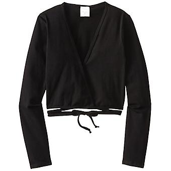 Clementine Little Girls' Long Sleeve Wrap Sweater, Black, 4-6