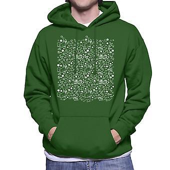 Simon's Cat Christmas Floral Pattern Men's Hooded Sweatshirt