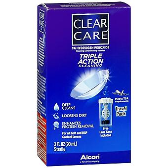 Clear care triple action cleaning & disinfecting solution, travel, 3 oz