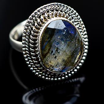 Labradorite 925 Sterling Silver Ring Size 8.25  - Handmade Boho Vintage Jewelry RING984306