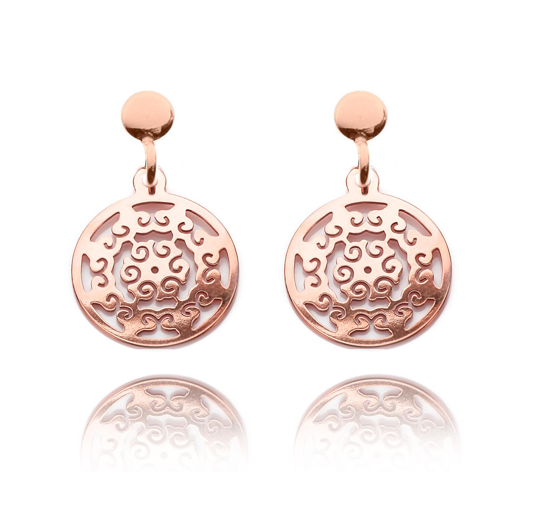 Ah! Jewellery 18K Rose Gold Over Sterling Silver Open Work Circle Earrings, Stamped 925