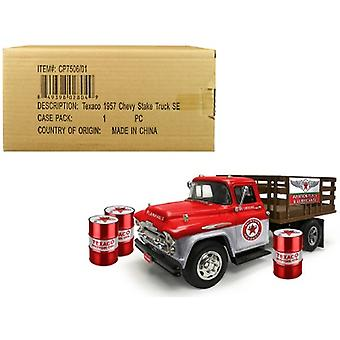 1957 Chevrolet Stake Bed Truck Red/Metal with 3 Oil Drums Texaco Aviation Fuels & Lubricants Brushed Metal Edition 1/25 Diecast Model by Autoworld