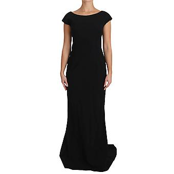 Dolce & Gabbana Black Stretch Fit Flare šaty Maxi