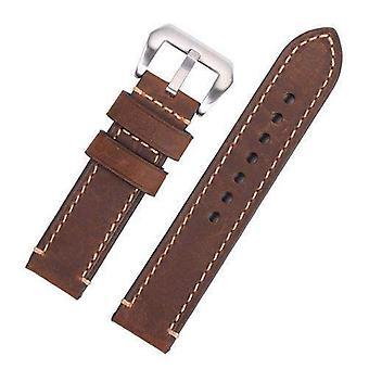 Calf leather watch strap dark brown premium hand stitched strap for panerai® 20mm to 26mm