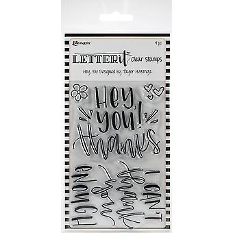 Ranger Letter It Clear Stamp Set 4-quot;X6-quot; - Hey You