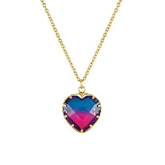 Eternal Collection Tenderness Blue And Pink Two Tone Crystal Heart Pendant