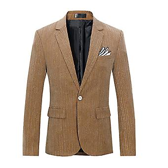 Allthemen Men's Striped Two Button Flat collar Khaki Single West