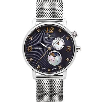 Zeppelin moon moon phase Swiss Quartz Analog Woman Watch with 7637M-3 Stainless Steel Bracelet