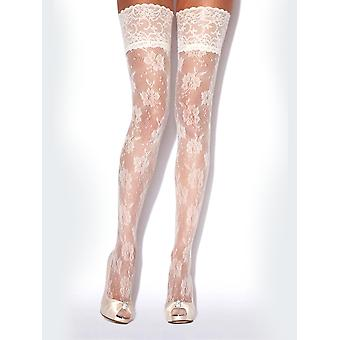 Charnos Floral Net Ivory Lace Hold Ups - Hosiery Outlet