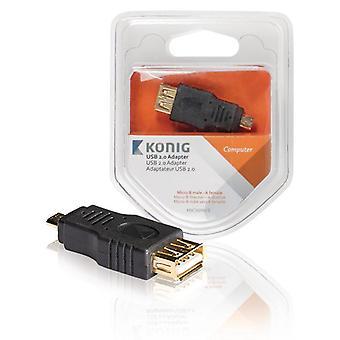 KÖNIG | Adapter USB 2.0 Micro B Męski - Antracyt żeński