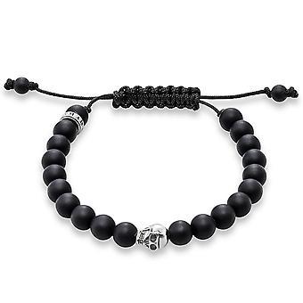 Thomas Sabo Silver & Matt Black Obsidian Skull Bracelet