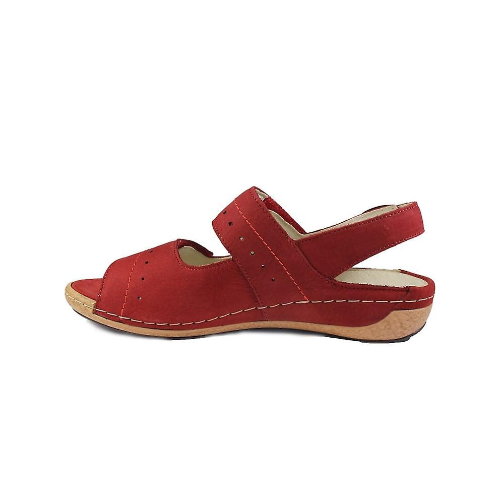 Waldläufer Heliett 342011 191 023 rød nubuck læder dame justerbar slingback sandaler