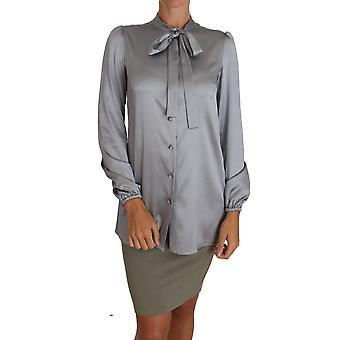 Dolce & Gabbana Gray Silk Shirt Pussy Bow Shirt TSH2711-38